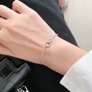 NEW 925 Sterling Silver Diamond Circle Bracelet A
